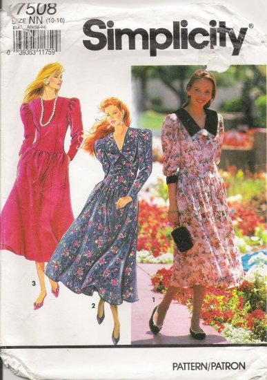 Misses' Dress Sewing Pattern Size 10-16 Simplicity 7508 UNCUT
