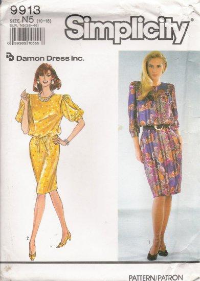 Misses' Dress & Tie Belt Sewing Pattern Size 10-18 Simplicity 9913 UNCUT