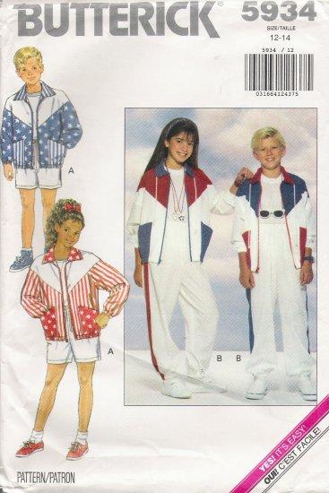 Boys' & Girls' Jacket Shorts Pants Sewing Pattern Size 12-14 Butterick 5934 UNCUT
