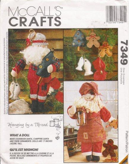 Cookbook Santa & Campfire Santa With Ornaments Sewing Pattern McCall's 7349 UNCUT