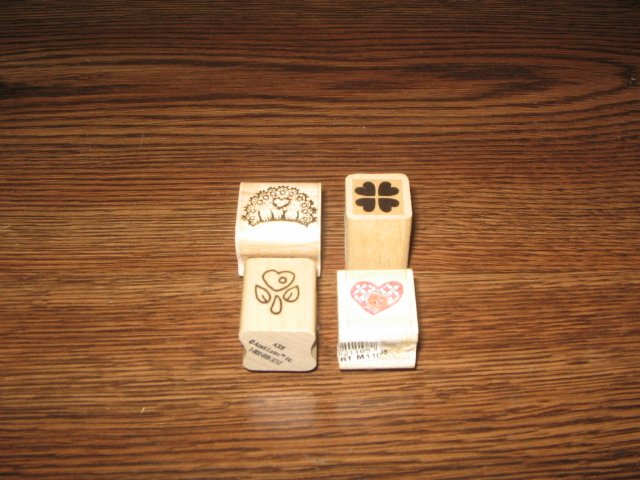 Tiny Heart Wood Mounted Rubber Stamps Lot Of 4