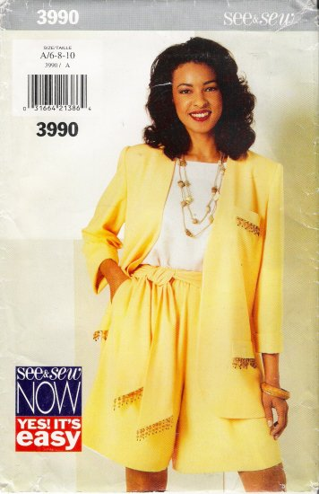 Misses' Jacket Shorts Top Sewing Pattern Size 6-10 Butterick 3990 UNCUT