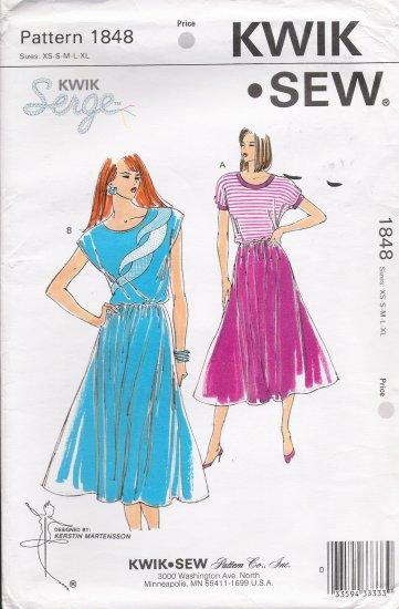 Misses' Dress Sewing Pattern Size XS-XL Kwik Sew 1848 UNCUT
