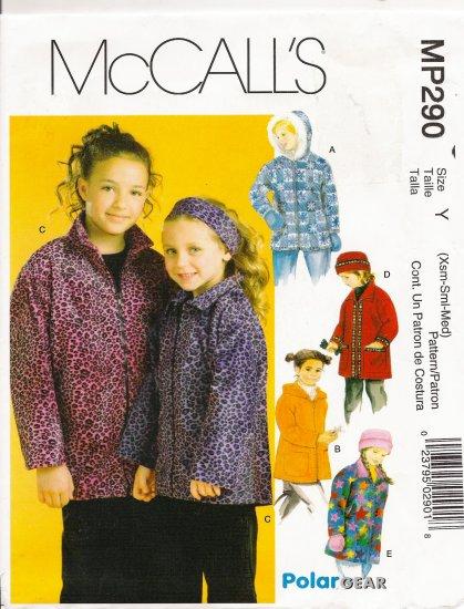 Children's & Girls' Jacket Hat Headband Mittens Sewing Pattern Size XS-M McCall's 290 UNCUT
