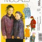 Children's & Girls' Jacket Hat Headband Mittens Sewing Pattern Size XS-M McCall's 290 UNCUT