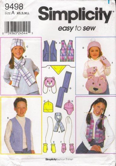 Child's, Girls' & Boys' Vest Accessories Hat Sewing Pattern Size XS-L Simplicity 9498 UNCUT
