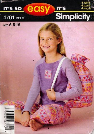Girls' Pajamas Sewing Pattern Size 8-16 Simplicity 4761 UNCUT