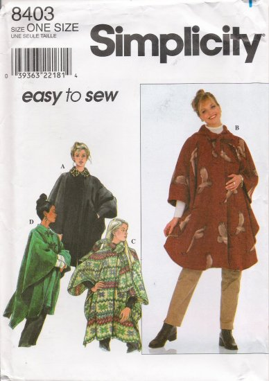 Misses' Cape Sewing Pattern One Size Simplicity 8403 UNCUT