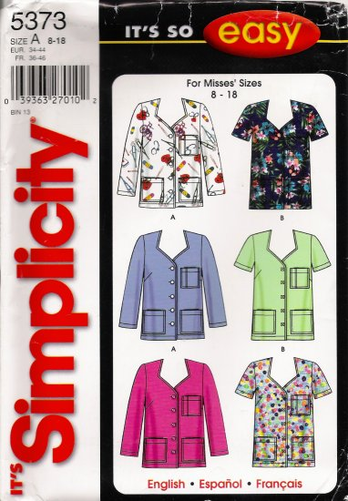 Misses' Scrubs Tops Sewing Pattern Size 8-18 Simplicity 5373 UNCUT