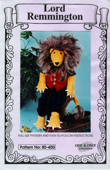 Stuffed Lion Sewing Pattern One & Only Creations 80-400 UNCUT