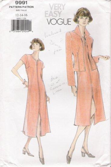 Misses' Jacket & Dress Sewing Pattern Size 12-16 Vogue 9991 UNCUT