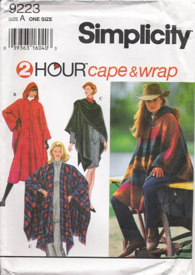 Misses' Cape & Wrap Sewing Pattern One Size Simplicity 9223 UNCUT