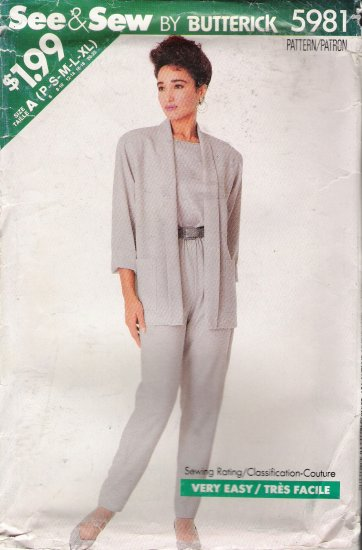 Misses' Jacket Top Pants Sewing Pattern Size P-XL Butterick See & Sew 5981 UNCUT