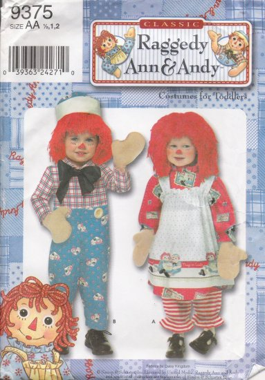 Toddlers' & Child's Raggedy Ann and Andy Costume Sewing Pattern Size 1/2-2 Simplicity 9375 UNCUT