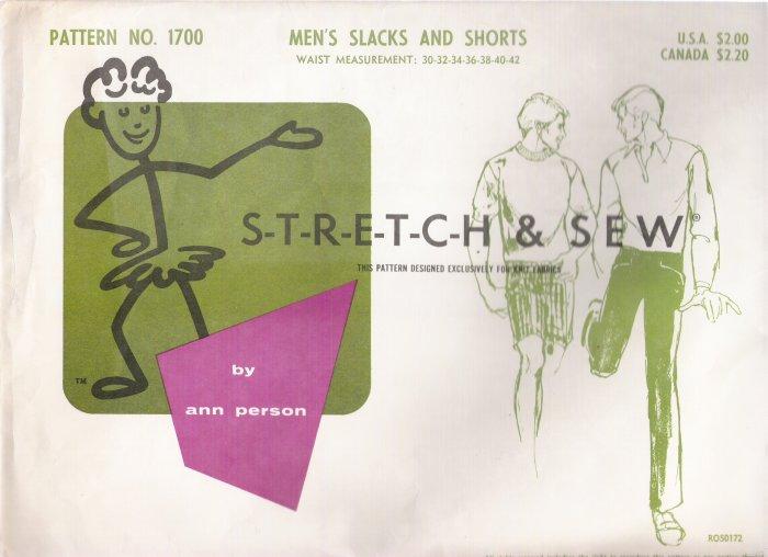 Vintage Sewing Pattern Men's Slacks & Shorts Sizes 30-42 Stretch & Sew 1700 UNCUT