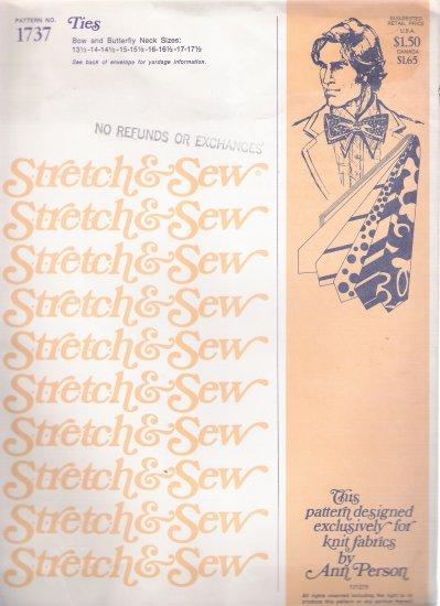 Vintage Sewing Pattern Men's Ties Neck Sizes 13 1/2-17 1/2 Stretch & Sew 1737 UNCUT
