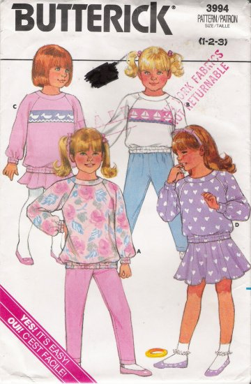 Toddlers' & Children's Top Pants Skirt Sewing Pattern Size 1-3 Butterick 3994 UNCUT
