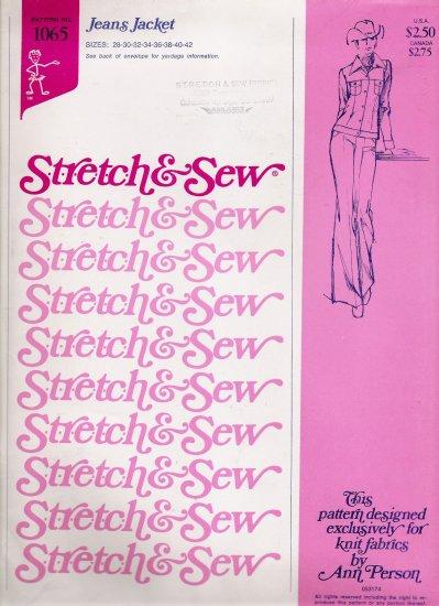 Vintage Sewing Pattern Jean Jacket Sizes 28-42 Stretch & Sew 1065 UNCUT