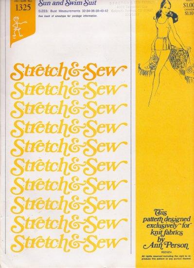 Vintage Sewing Pattern Sun & Swim Suit Bust Sizes 32-42 Stretch & Sew 1325 UNCUT