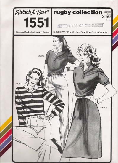 Vintage Sewing Pattern Rugby Collection Bust Sizes 30-46 Stretch & Sew 1551 UNCUT