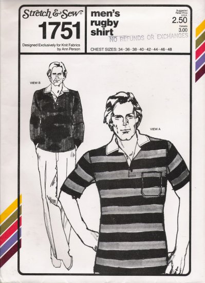 Vintage Sewing Pattern Men's Rugby Shirt Chest Sizes 34-48 Stretch & Sew 1751 UNCUT