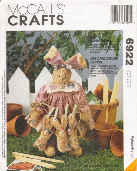 Bunny Rabbit & Babies Sewing Pattern McCalls 6922 UNCUT