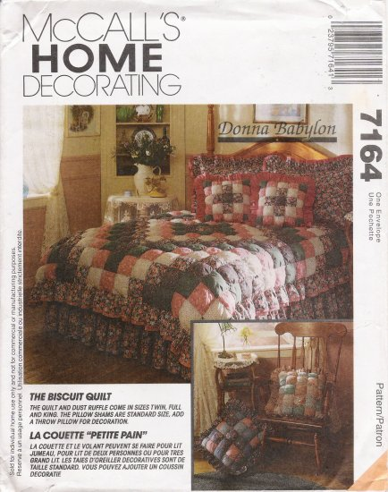 Biscuit Quilt Dust Ruffle Pillow Shams Throw Pillow Sewing Pattern McCall's 7164 UNCUT