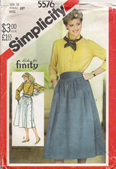 Misses' Side Button Skirt Sewing Pattern Size 14 Simplicity 5576 UNCUT