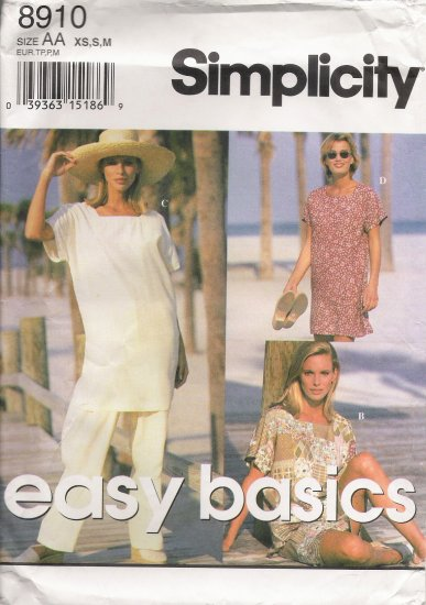 Misses' Pants Shorts Top Mini-Dress Tunic Sewing Pattern Size XS-M Simplicity 8910 UNCUT