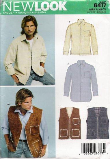 Men's Shirt & Vest Sewing Pattern Size XS-XL Simplicity New Look 6417 UNCUT