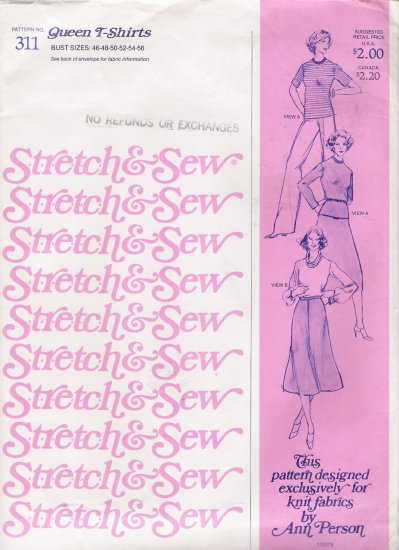 Vintage Sewing Pattern Queen T-Shirts Bust Sizes 46-56 Stretch & Sew 311 UNCUT