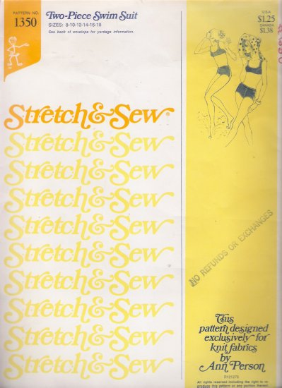 Vintage Sewing Pattern Two Piece Swimsuit Size 8-18 Stretch & Sew 1350 UNCUT