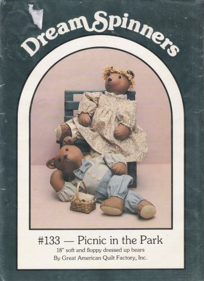 "Picnic In The Park 18"" Teddy Bears Sewing Pattern Dream Spinners 133 UNCUT"