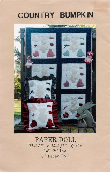 Paper Doll Quilt & Pillow by Country Bumpkin UNCUT