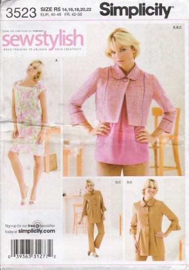 Misses' Dress Top Jacket Pants Sewing Pattern Size 14-22 Simplicity 3523 UNCUT