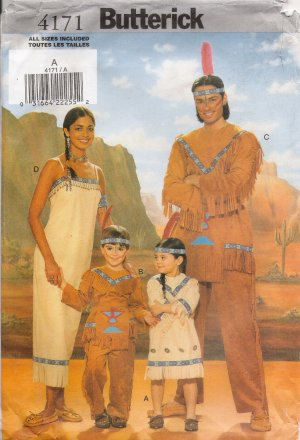 Men\'s & Misses\' Native American Halloween Costumes Sewing Pattern ...