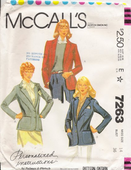 Misses' Jacket Sewing Pattern Size 14 McCall's 7263 UNCUT