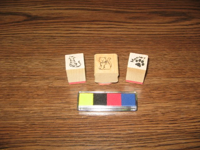 Cat Wood Mounted Rubber Stamp Lot Of 3