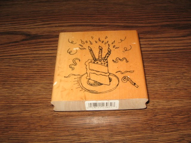 Birthday Cake Slice Wood Mounted Rubber Stamp