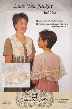 Women's Lace Tea Jacket & Vest Size S-XXXL Gooseberry Hill 229 UNCUT