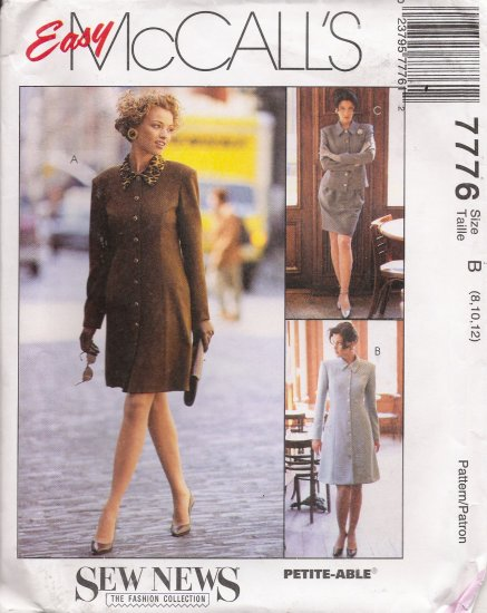 Misses' Dress Jacket Skirt Sewing Pattern Size 8-12 McCall's 7776 UNCUT