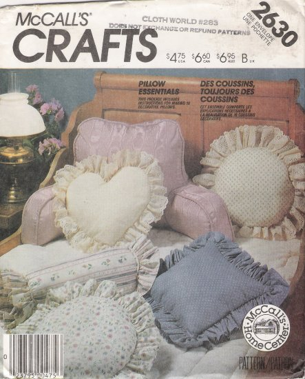 Pillow Essentials Sewing Pattern McCall's 2630 UNCUT