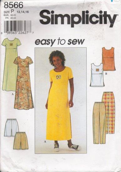 Misses' Dress Top Pants Shorts Sewing Pattern Size 12-16 Simplicity 8566 UNCUT