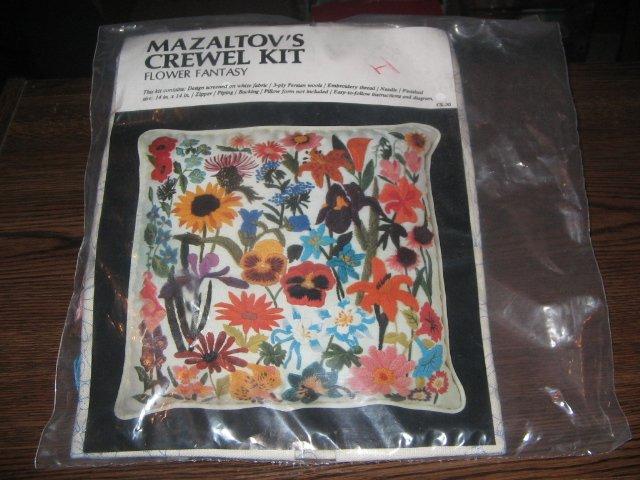 Mazaltov's Flower Fantasy Vintage Crewel Embroidery Kit