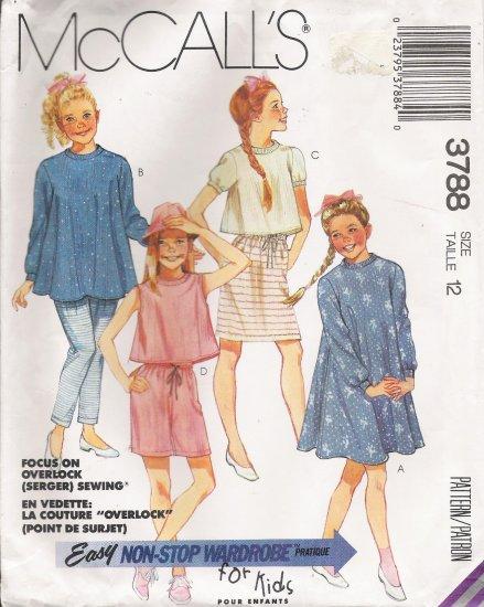 Girls' Dress Top Skirt Pants Shorts Sewing Pattern Size 12 McCall's 3788 UNCUT