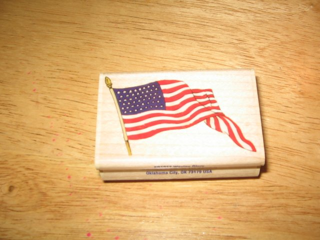 American Flag Wood Mounted Rubber Stamp by Stampabilities