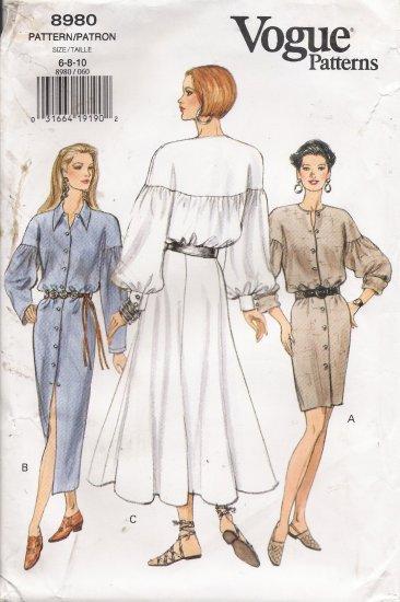 Misses' Poet Sleeve Dress Sewing Pattern Size 6-10 Vogue 8980 UNCUT