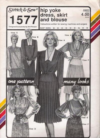 Vintage Sewing Pattern Hip Yoke Dress, Skirt, Blouse Bust Sizes 30-46 Stretch & Sew 1577 UNCUT