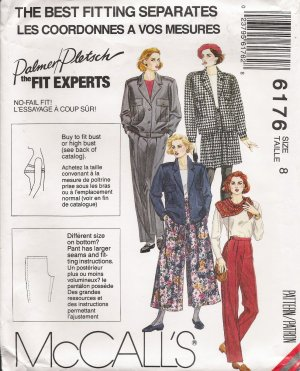 Misses' Jacket Culottes Pants Sewing Pattern Size 8 McCall's 6176 UNCUT