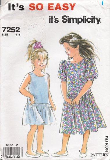 Children's Dress Sewing Pattern Size 4-8 Simplicity 7252 UNCUT